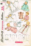 1950s Vintage Simplicity Sewing Pattern 4507 Baby Layette w Christening Dress
