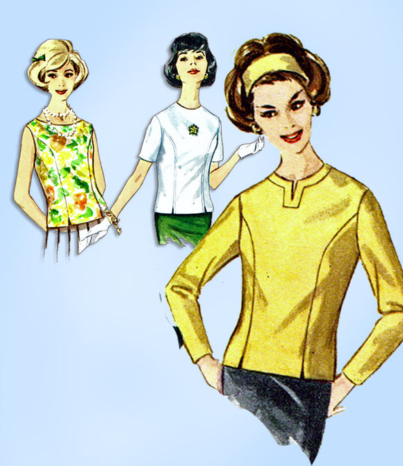 1960s Vintage Simplicity Sewing Pattern 4523 Misses Back Button Blouse Set Size 32 B - Vintage4me2