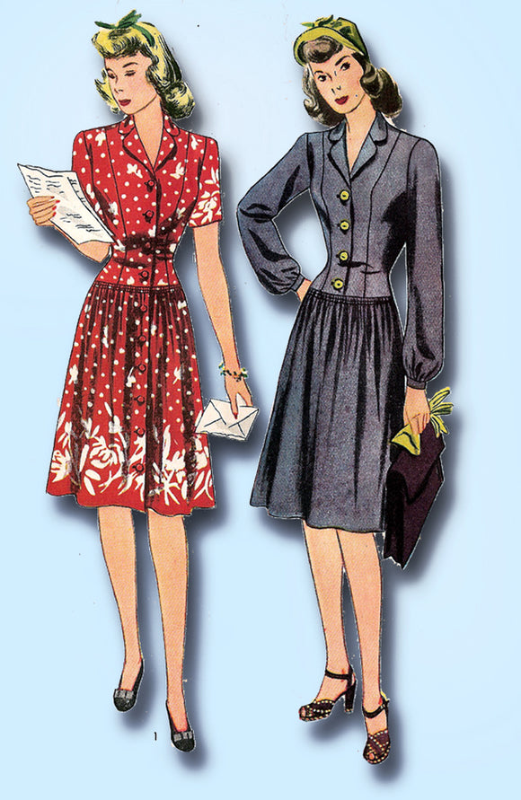 1940s Vintage Simplicity Sewing Pattern 4526 Simple WWII Misses Dress Size 32 B