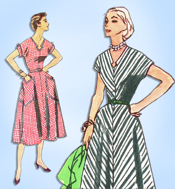 1950s Vintage Simplicity Sewing Pattern 4527 Easy Plus Size Dress Size 41 Bust