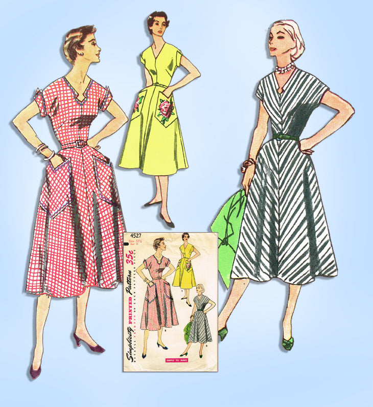 1950s Vintage Simplicity Sewing Pattern 4527 Easy Plus Size Dress 41