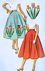 1950s Vintage Simplicity Sewing Pattern 4532 FF Simple Misses Circle Skirt 26W