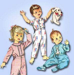 1960s Vintage Simplicity Sewing Pattern 4535 Baby Boys or Girls Footie Pajamas Sz1 from Vintage4me2