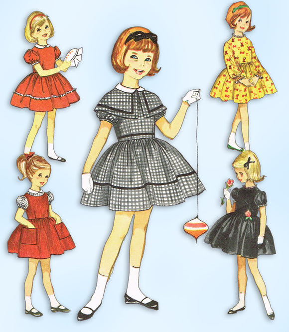 1950s Vintage Simplicity Sewing Pattern 4586 Toddler Girls 7 Day Dress Size 6 - Vintage4me2