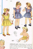 1940s Vintage Simplicity Pattern 4607 Baby Girls Pinafore Dress & Bonnet Sz 6 mos