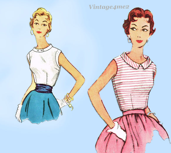 Simplicity 4613: 1950s Cute Misses Sleeveless Blouse 32B Vintage Sewing Pattern