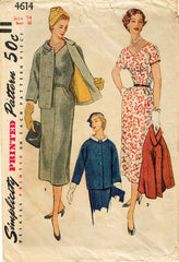 1950s Original Vintage Simplicity Pattern 4614 Misses Slender Dress & Jacket 32B