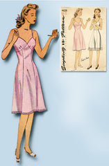 1940s Vintage Simplicity Sewing Pattern 4628 Simple Misses WWII Slip Sz 32 Bust