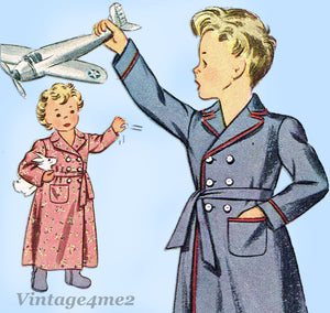 Simplicity 4629: 1940s WWII Toddler Boys or Girls Robe Sz 2 Vintage Sewing Pattern - Vintage4me2