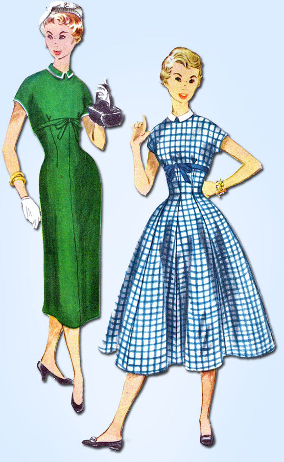 1950s Vintage Simplicity Sewing Pattern 4630 Uncut Misses Empire Dress Sz 14 32B