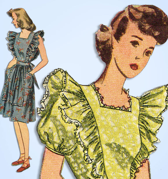 1940s Vintage Simplicity Sewing Pattern 4632 Misses WWII Pinafore Sun Dress 32 B