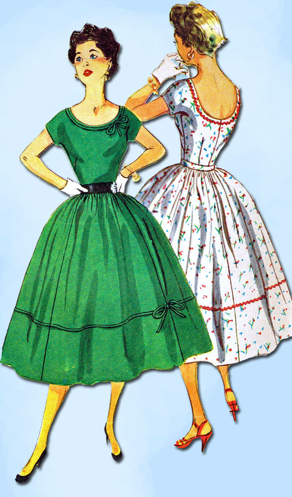 1950s Vintage Simplicity Sewing Pattern 4637 Uncut Misses Cocktail Dress Sz 11