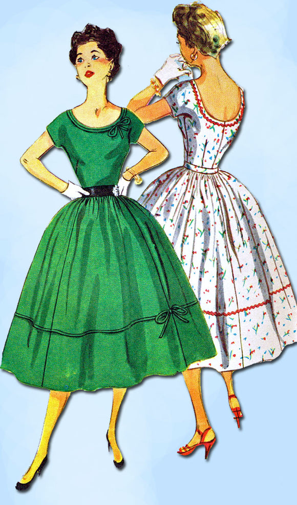 1950s Vintage Simplicity Sewing Pattern 4637 Misses Cocktail Dress Size 34 Bust