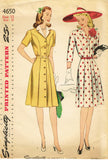 1940s Vintage Simplicity Sewing Pattern 4650 Misses WWII Dress & Dickey Sz 30 B