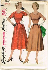 1950s Misses Simplicity Sewing Pattern 4655 Uncut Misses Afternoon Dress Sz 32B
