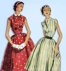 1950s Vintage Simplicity Sewing Pattern 4660 Uncut Misses Tucked Dress Sz 32 B