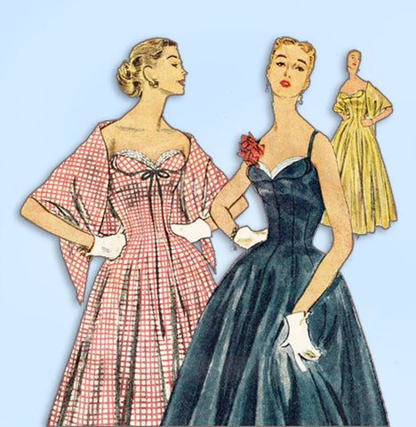1950s Vintage Simplicity Sewing Pattern 4663 Misses Princess Dress or Gown 38 B