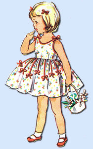 1950s Vintage Simplicity Sewing Pattern 4688 Toddler Girls Party Dress Size 2