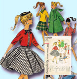 1960s Vintage Simplicity Sewing Pattern 4700 Classic Barbie Doll Clothes Set vintage4me2