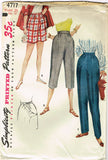 1950s Misses Simplicity Sewing Pattern 4717 Misses Maternity Pants Size 28 Waist