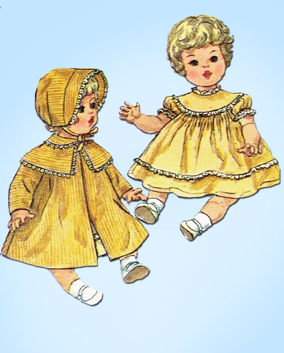 1960s Vintage Simplicity Sewing Pattern 4727 14 Inch Baby Doll Clothes Set -Vintage4me2