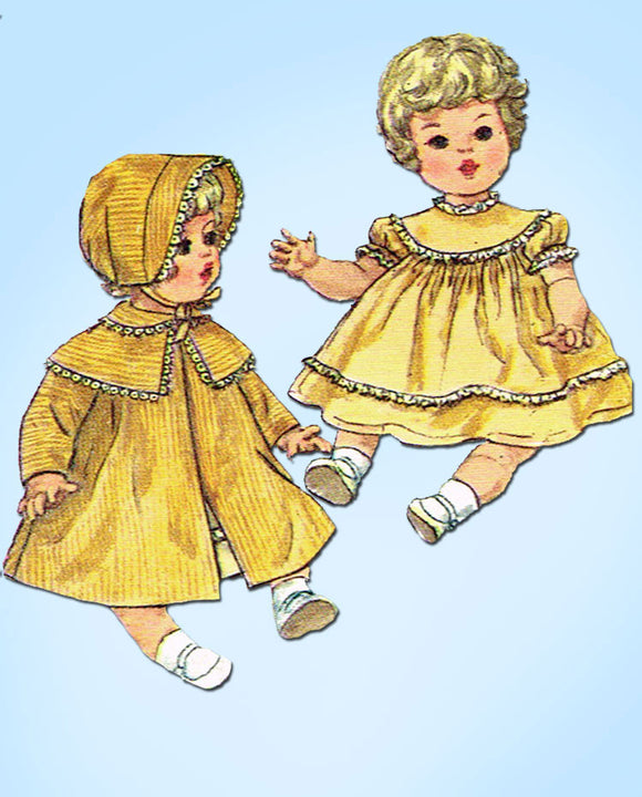 1960s Original Vintage Simplicity Sewing Pattern 4727 16in Baby Doll Clothes Set -Vintage4me2
