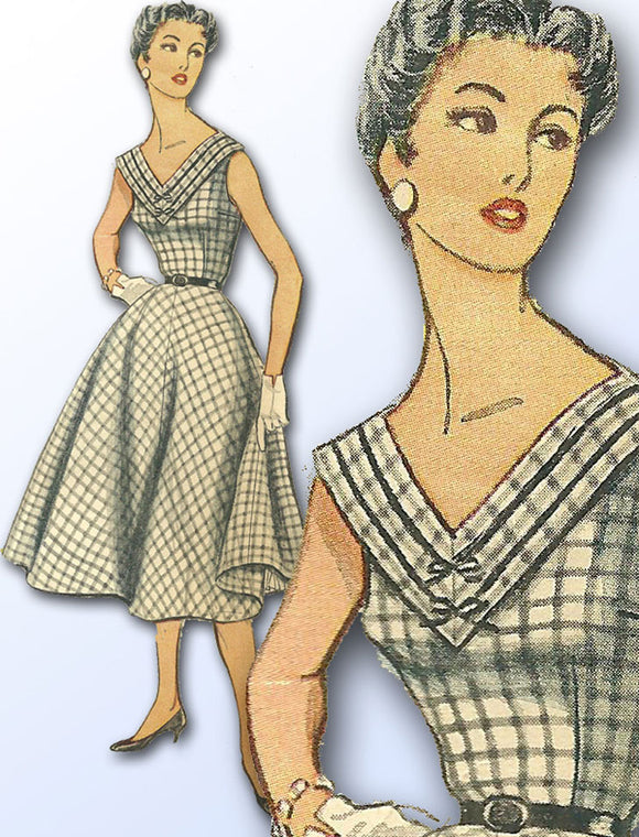 1950s Vintage Simplicity Sewing Pattern 4730 FF Misses Afternoon Dress Sz 39 B