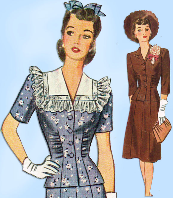 1940s Vintage Simplicity Sewing Pattern 4736 Misses WWII Rouched Suit Sz 34 Bust - Vintage4me2