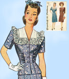 1940s Vintage Simplicity Sewing Pattern 4736 Misses WWII Rouched Suit Sz 36 Bust - Vintage4me2