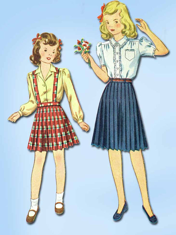 1940s Vintage Simplicity Sewing Pattern 4743 Uncut Girls Skirt and Blouse Sz 10