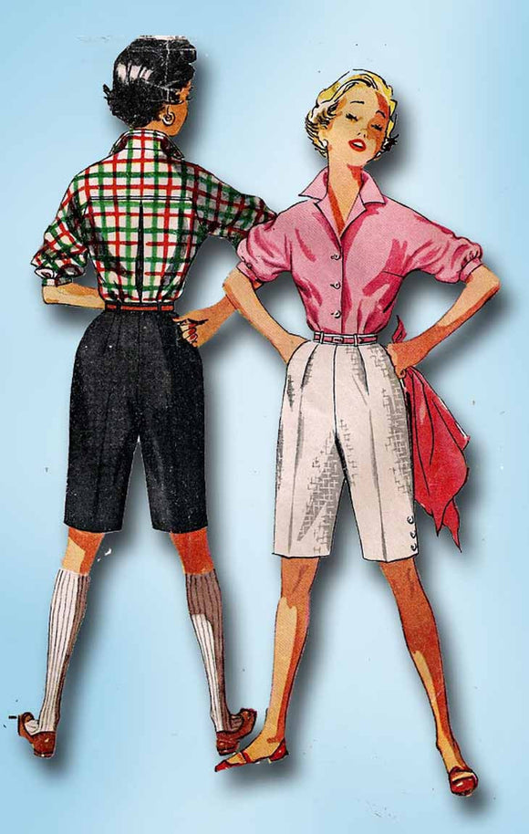 1950s Vintage Simplicity Sewing Pattern 4746 Uncut Misses Shorts and Blouse 31B