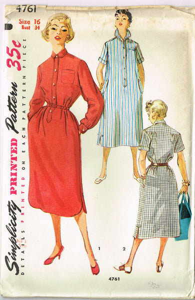 1950s Misses Simplicity Sewing Pattern 4761 Uncut Misses House Dress Size 16 34B
