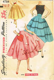 1950s Vintage Simplicity Sewing Pattern 4784 Easy Misses Circle Skirt Size 26 W