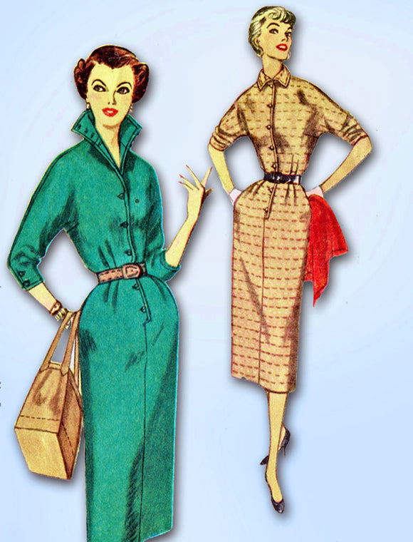 1950s Vintage Simplicity Sewing Pattern 4807 FF Misses Slender Dress Size 12 30B -Vintage4me2