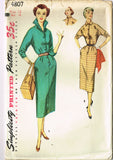1950s Vintage Simplicity Sewing Pattern 4807 Misses Slender Shirtwaist Dress 32B