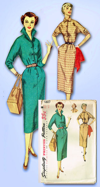 1950s Vintage Simplicity Sewing Pattern 4807 FF Misses Slender Dress Size 12 30B