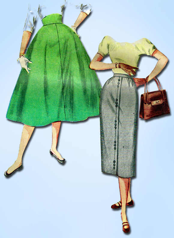 1950s Vintage Simplicity Sewing Pattern 4812 Easy Uncut Misses Day Skirt Sz 24 W -Vintage4me2
