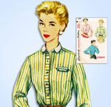1950s Vintage Simplicity Sewing Pattern 4813 Easy Misses Western Blouse Sz 32 B
