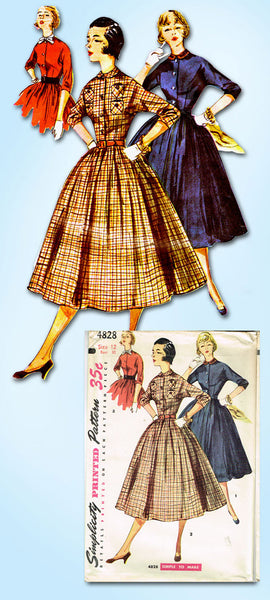 1950s Vintage Simplicity Sewing Pattern 4828 FF Misses Shirtwaist Dress Size 12