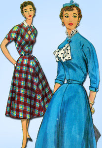 1950s Vintage Simplicity Sewing Pattern 4834 FF Misses Keyhole Dress Size 16 34B