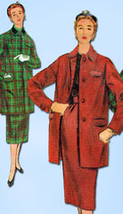 1950s Misses Simplicity Sewing Pattern 4839 Uncut Misses Suit w Long Jacket 32B