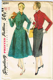 1950s Vintage Simplicity Sewing Pattern 4844 FF Misses Suit w 2 Skirts Size 14