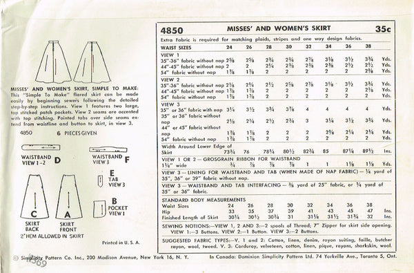 1950s Vintage Simplicity Sewing Pattern 4850 Uncut Easy Misses Skirt Size 26 W