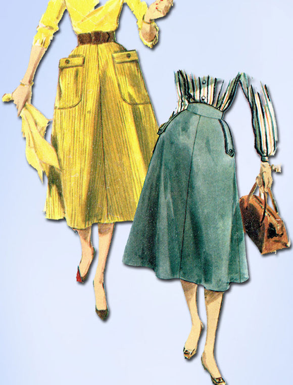 1950s Vintage Simplicity Sewing Pattern 4850 Misses Simple to Make Skirt FF 28W