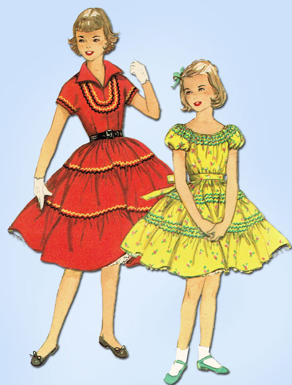 1950s Vintage Simplicity Sewing Pattern 4868 Uncut Toddler Girls Squaw Dress Sz6