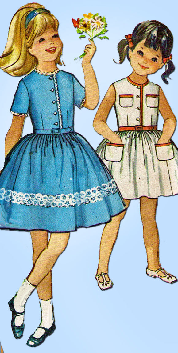 1960s Vintage Simplicity Sewing Pattern 4869 Uncut Girls Shirtwaist Dress Size 10
