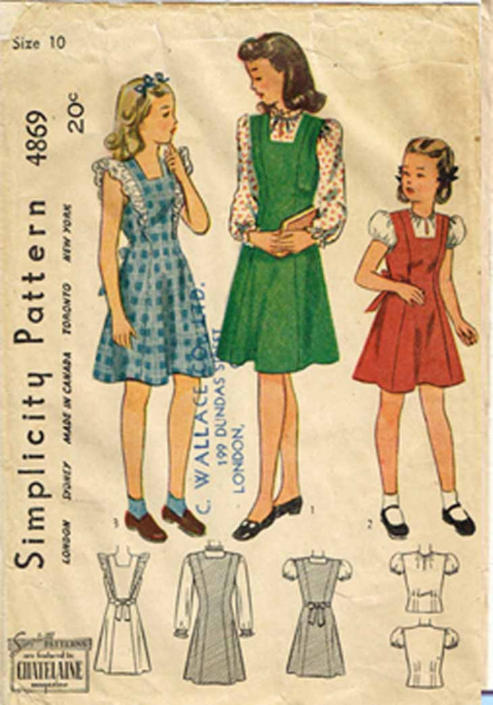 1940s Vintage Simplicity Sewing Pattern 4896 WWII Girls Dress or ...