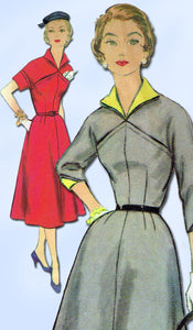 1950s Misses Simplicity Sewing Pattern 4872 Uncut Misses Street Dress Sz 14 32B