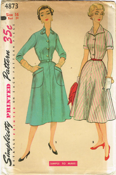 1950s Misses Simplicity Sewing Pattern 4873 Uncut Simple Misses Dress Sz 16 34B