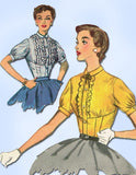 1950s Misses Simplicity Sewing Pattern 4882 Uncut Misses Fitted Blouse Sz 12 30B